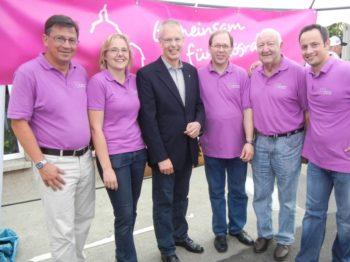 Besuch Dr. H.-J. Tebroke am Stand Gemeinsam für Rösrath - hier mit Vorstand- Straßenfest Rösrath